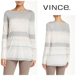 VINCE Gray Pink Engineered Stripe Jersey Top Small